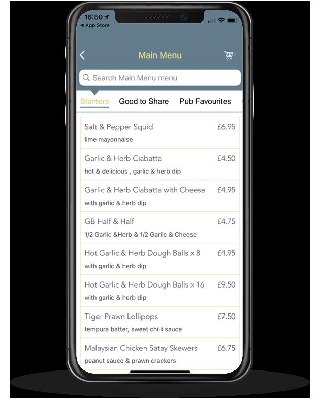 Screenshot of Barons Order & Pay App
