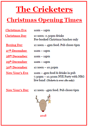 Image for Christmas 2018 Opening Times