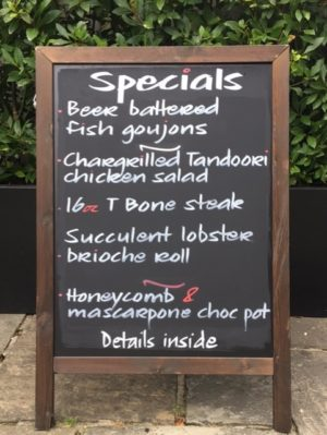 August Specials Board
