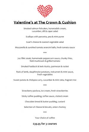 Valentine's menu C&C