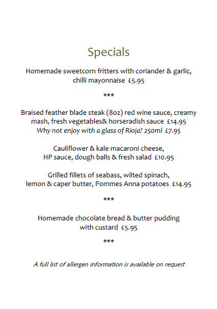 Image for New Year. New Specials Menu!