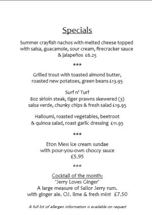 June Specials menu