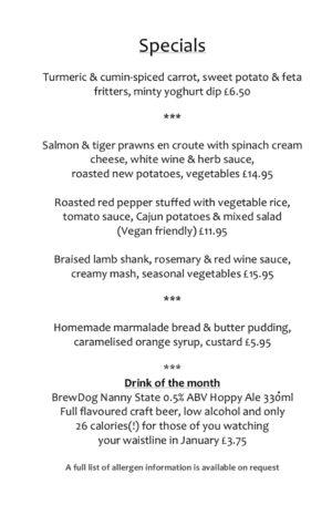 Jan Specials menu
